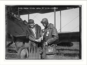 Photo (L): Claire Ogden, giving watch to Lt. W.C.F. Brown