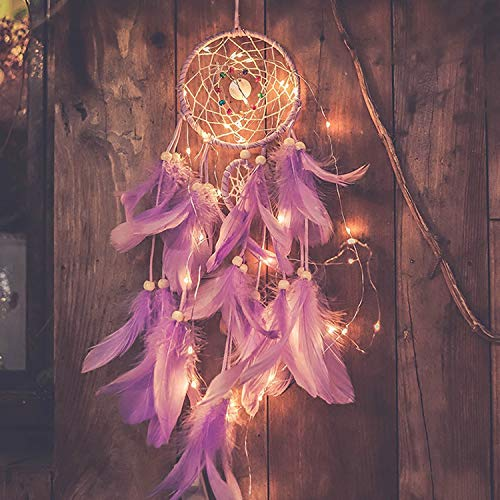 Qukueoy Light Up Dream Catchers for Bedroom Wall Hanging Decorations, LED Dreamcatcher Home Ornaments with 20 LED Lights,Fantasy Gifts for Kids, Caught Your Dream (Purple)