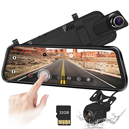 10 Mirror Dash Cam Backup Camera Full Touch Screen Video Streaming Mirror Camera 170° 1080P Front and 150° 1080P Rear View Camera Dual Lens with Night Vision & Parking Monitor (Free 32GB SD Card)