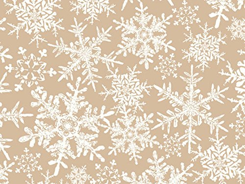 Tan White Kraft Snowflakes Holiday Wrap Wrapping Paper - 16 Feet Roll