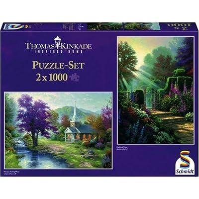 Schmidt Spiele Thomas Kinkade Cappella Al Torrentein Giardino 2 X Puzzle Da 1000 Pezzi