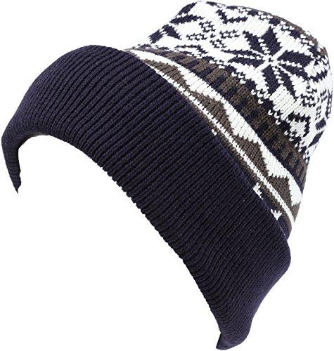 (Sakkas 16153 - Sloan Unisex Fold Over Classic Patterned Snowflake Design Winter Beanie Hat - Navy - OS )