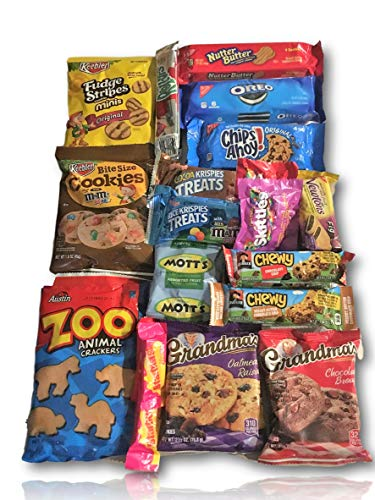 Cookie & Candy Care Package by AtHomePlus (25 Count) -Perfect Gift for College Dorm, Military or -