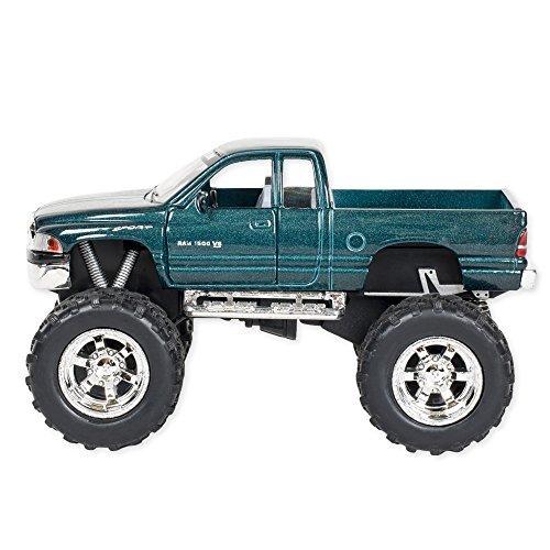 Aqua Blue Dodge Ram Bigfoot with Monster Wheels 5 inch Die Cast Pull Back Action (Bigfoot Truck)