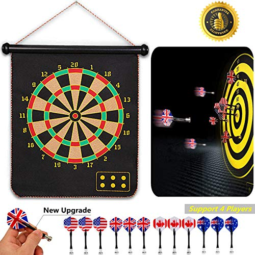 Find Discount Hedonism Magnetic Dart Board Set Safety for Kids Adults Indoor Outdoor Double Sided Da...