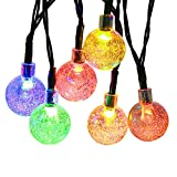 ApexPower Solar Outdoor String Lights Globe Colorful Decorative Light 8 Modes 30LED Waterproof Light for Party, Wedding, Patio, Yard, Home, Landscape, and Holiday Decorations (Multicolored)