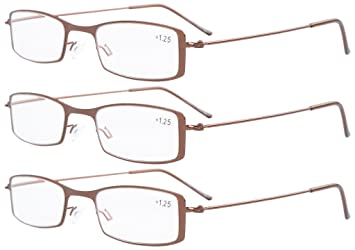 3824526e92e Eyekepper 3-Pack Stainless Steel Frame Half-eye Style Reading Glasses  Readers Brown +