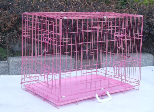 """Pink 42"""" Pet Folding Dog Cat Crate Cage Kennel W/PP Tray LC"""