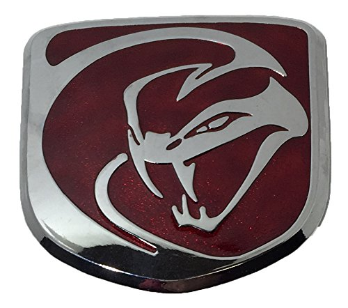 Medium Red & Chrome Direct OEM Replacement Striking Snake Emblem For Dodge Viper Mopar 1VN1706SAA (About 2x2)