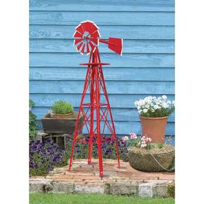 Windmill Tower (4ft. Ornamental Garden Windmill - Red with White Tips)