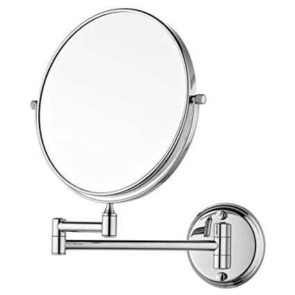 JPS(tm) 8 Makeup Mirror/Shaving Mirror/Bathroom Mirror with 10X Magnifying Mirror & Wall Bracket with Adjustable Frame (Series:- Silver)