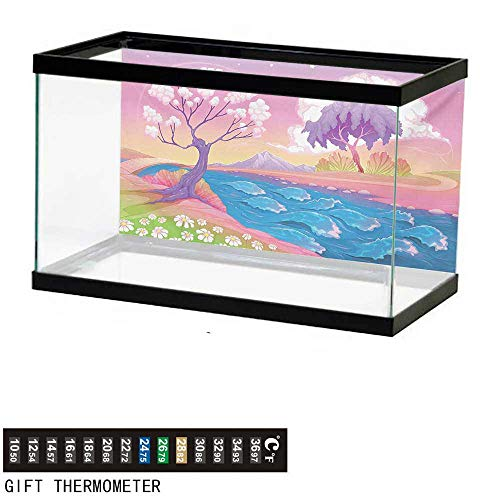 wwwhsl Aquarium Background,Fantasy,Astral Landscape with Fictional Fantasy Trees and River Waves Daisy Magical Picture,Multicolor Fish Tank Backdrop 24