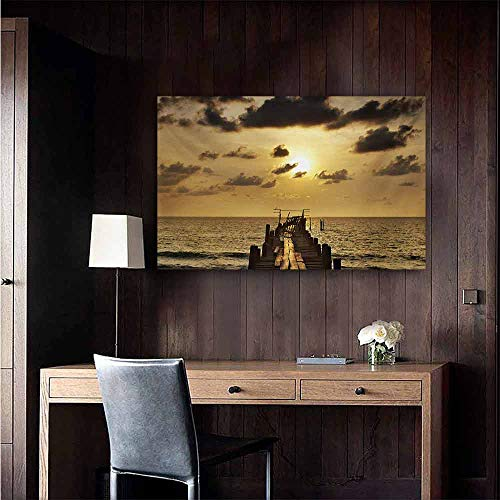 - duommhome Landscape Chinese Classical Oil Painting Old Wooden Deck Pond Over The Sea Horizon Sunset Time of The Day Peaceful Scene for Living Room Bedroom Hallway Office 32