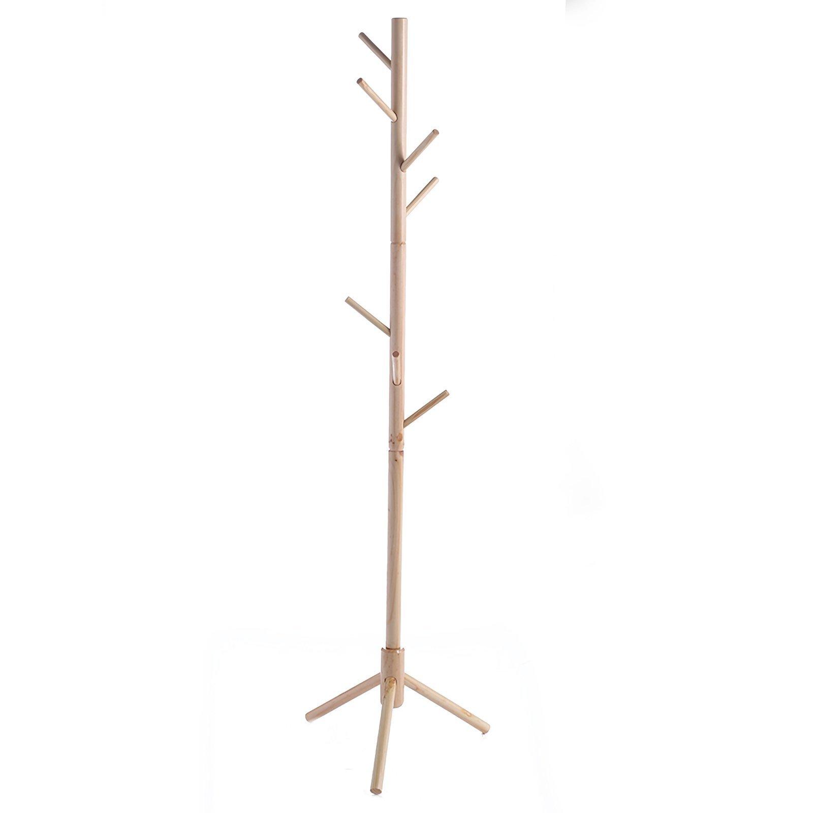 JOYBASE 8 hooks Wooden Coat Rack/Clothes Hanger Stand, for Coats, Hats, Scarves, Jacket and Handbags(Natural)