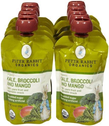 Peter Rabbit Organics Variety of Fruit and Vegatables Baby Food - 10 Pack (Kale & Broccoli & Mango)