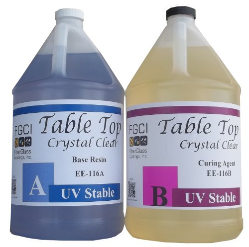 Epoxy Crystal Clear Table Top Resin, 1:1, 2 Gallon Kit, Crystal Clear, Parts A & B Included by Fiberglass Coatings