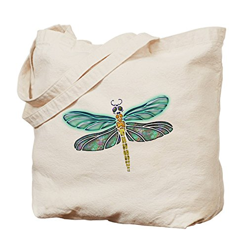 CafePress–Glowing Vidriera y Abulón libélula–Gamuza de bolsa de lona bolsa, bolsa de la compra