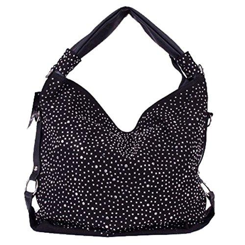 Trendy Glitzer Tasche Handtasche Shopper XL mit Strass/Nieten aktuelle Kollektion Farbauswahl Schwarz
