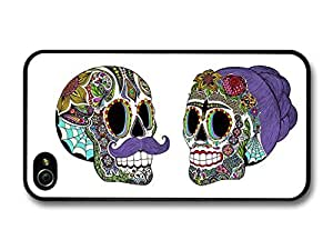 Mexican Man and Woman Skull With Paintings Illustration case for iPhone 4 4S