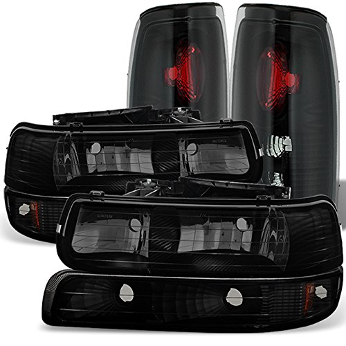 Black Smoked For 1999-2002 Chevy Silverado 1500 2500HD 3500 Headlights + Bumper Signal + Tail Lamps