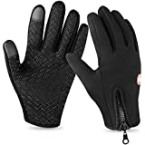 Lonew Touch Screen Gloves, Winter Warm Thermal Gloves Black Gel Men & Women Gloves for Cycling, Running, Climbing and Winter Outdoor Sports - Waterproof & Windproof and Adjustable Size