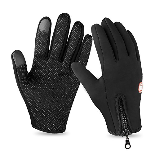 Lonew Touch Screen Gloves, Winter Warm Thermal Gloves Black Gel Men & Women Gloves, Black,X-Large