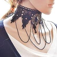 ERAWAN Women Gothic Black Lace Collar Choker Necklace Victorian Steampunk Lace Collar EW sakcharn