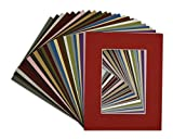 Golden State Art, Pack of 25, Acid-Free Mixed Colors Pre-Cut 8x10 Picture Mat for 5x7 Photo with White Core Bevel Cut Frame Mattes