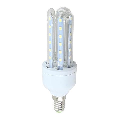 KHEBANG Bombilla LED Maíz Tres Tubos Transparentes E14 12W Luz Blanco Fría 6500K Pack de 5