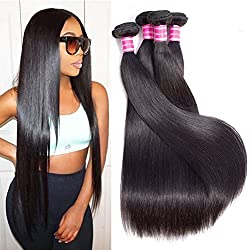 Gabrielle Brazilian Virgin Remy Straight Hair 4 Bundles/Lot Unprocessed 8A Grade Brazilian Virgin Human Hair Extension Natural Color Hair Weave (100+/-5g)/pc (18 20 22 24)