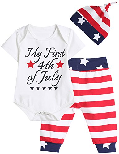 Singcoco Outfit Set Baby Boy Girls 4th of July Independence Day Romper (White, 6-12 Months)