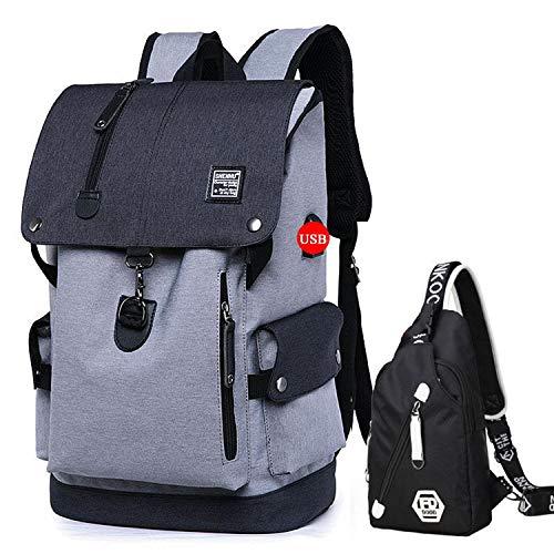Fashion Men Backpack Shoulder Bag Male Fashion Best Travel Backpacks Everyday Backpack Laptop Bags For Teenager Boy Mochila 2019,Gray Backpack Set,15 Inches (Best Dslr For Sports 2019)