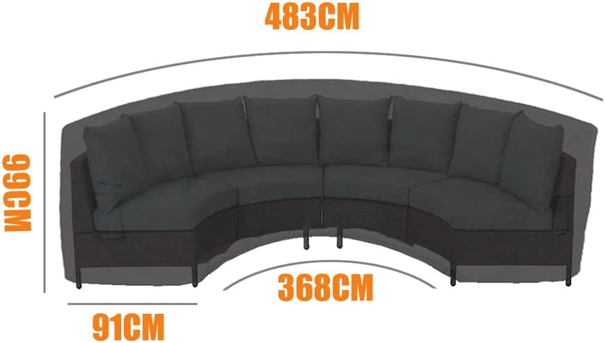 Yolaka Garden Furniture Covers Outdoor Sectional Curved Sofa Protector for Half-Moon Couch sets Medium Size 305x91x99 Black