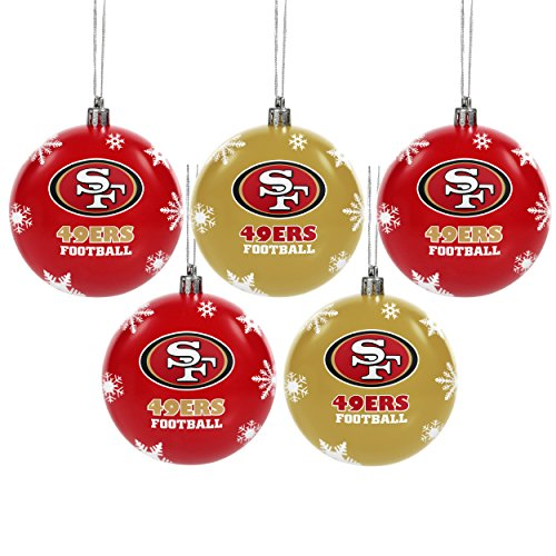 FOCO San Francisco 49ers 2016 5 Pack Shatterproof Ball Ornament Set San Francisco 49ers Ornaments