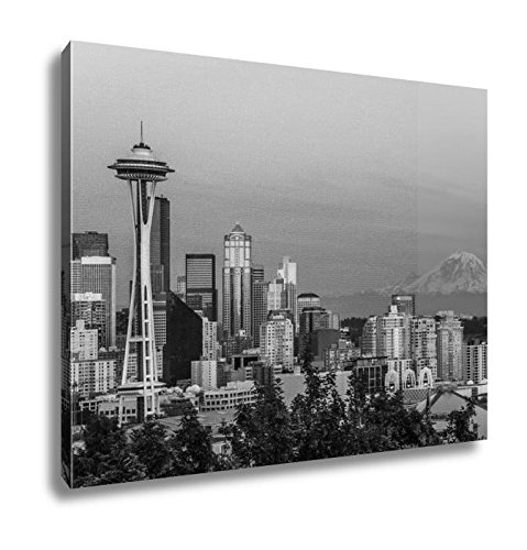 Ashley Canvas Seattle Skyline At Sunset, Home Office, Ready to Hang, Black/White 20x25, AG5632819 (Reflections Sunset Skyline Seattle)