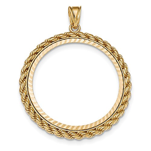 14k Yellow Gold Casted Rope Prong 1ae Bezel Necklace Pendant Charm Coin Holders/bezel American Eagle Fine Jewelry Gifts For Women For Her