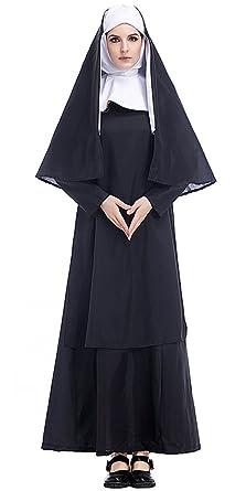 KINDOYO Adult Womenu0027s Nun Costume Fancy Dress Halloween Costume  sc 1 st  Amazon.com & Amazon.com: KINDOYO Adult Womenu0027s Nun Costume Fancy Dress Halloween ...