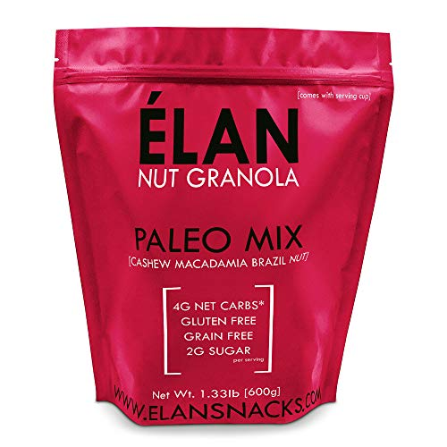 Toasted Bar Diet Coconut - ELAN Grain Free Paleo Granola, Ketogenic Low Carb Diet Cereal Snack - Gluten Free, Salt Free, Dairy Free, Low Glycemic Food (Cashew Macadamia Brazil Nut, 1.33lb Bulk Bag)