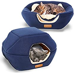 "PREMIUM Pet Bed/Cave, Cat Bed and Cave, Small Dog Bed, 2-in-1 foldable, soft, warm, washable pet bed with a pillow. (18""X16""X14"", Navy Blue)"