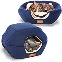"""PREMIUM Pet Bed/Cave, Cat Bed and Cave, Small Dog Bed, 2-in-1 foldable, soft, warm, washable pet bed with a pillow. (18""""X16""""X14"""", Navy Blue)"""