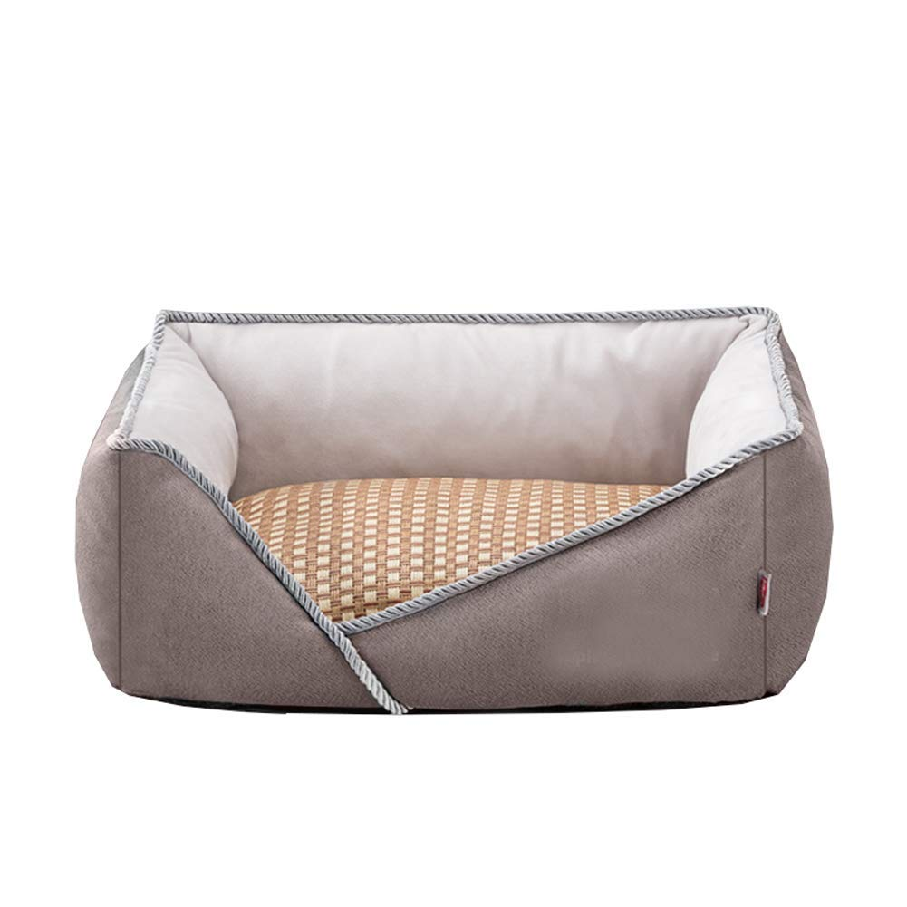 Brown Large Brown Large CHEN. Pet bed dog bed four seasons universal removable and washable summer small dog medium large pet spring and summer pet supplies (buy to send rattan seats),Brown,L