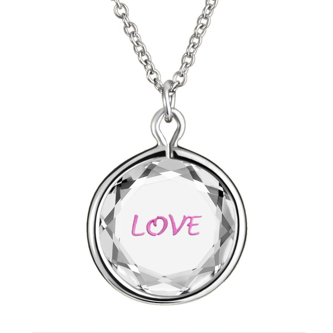 LovePendants 16-18 Necklace in White Swarovski Crystal with Gold Enameled LOVE Engraving in Yellow-Gold-Plated-Silver