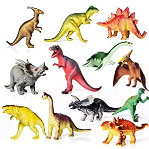 AILIHEN Dinosaurs Toys Includes Kids 12-Pack of Realistic Plastic Figures, 5-8″ Dinosaur Play Set with Educational Book for Boys/ Girls / Toddlers ( 3 Years Old & Up ), Dinosaur Party Supplies