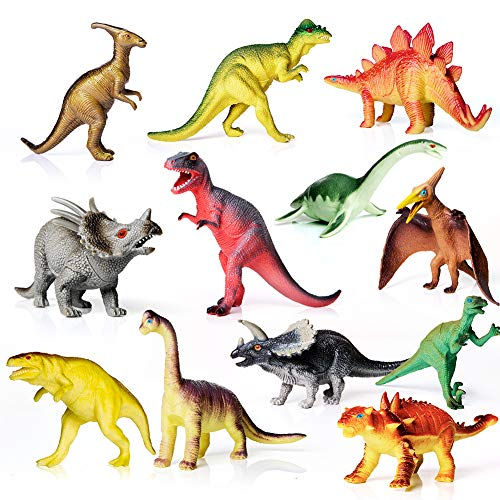 AILIHEN Dinosaurs Toys Includes Kids 12-Pack of Realistic Plastic Figures, 5-8 Dinosaur Play Set with Educational Book for Boys/ Girls / Toddlers ( 3 Years Old & Up ), Dinosaur Party Supplies