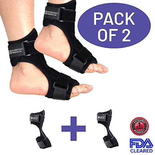 Pack of 2 Plantar Fasciitis Night Splint for Both Feet's Left & Right - Foot Stretching Device with Rigid Metal Instep - Stretch Therapy for Plantar Fasciitis, Arch Foot Pain, Heel Pain and Achilles