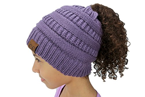 C.C GORRO Fashion New Cable Knit Messy Bun Hat Super Soft Warm Ponytail (Grape) (Super Stretch Knit Hat)