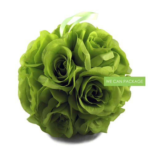 We Can Package 7 Inch Silk Rose Pomander Kissing Balls for Wedding Decorations, Party Event, Floral Arrangements Home (Lime Green) (Green Kissing Ball)