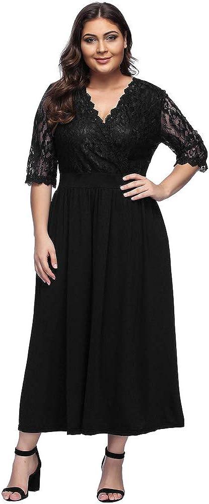 TALLA (EU50-52)2XL. Lover-Beauty Vestido Largo Mujer Talla Grande Moda Bolsillo Top Falda para Fiesta Verano Manga Corta Floral Estampada Suleto Moda de Ropa Elegante Maxi Negro Encaje (EU50-52)2XL