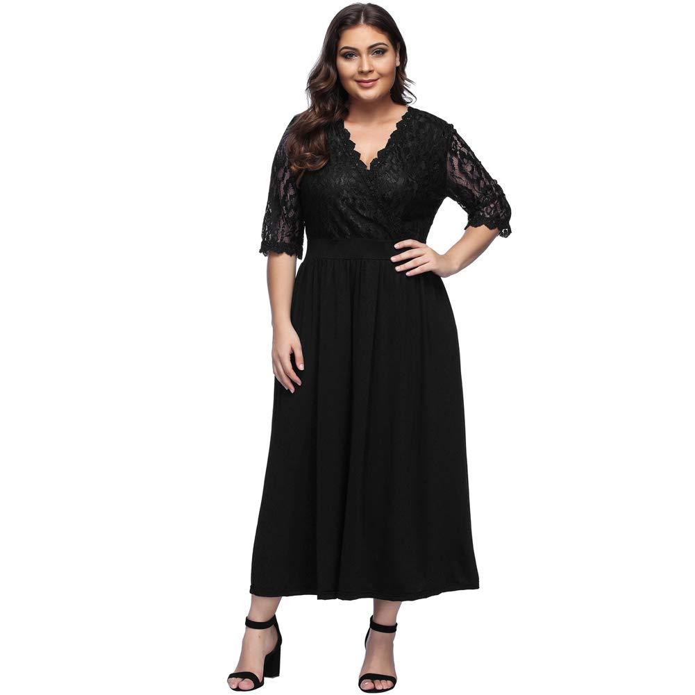TALLA (EU46-48)XL. Lover-Beauty Vestido Largo Mujer Talla Grande Moda Bolsillo Top Falda para Fiesta Verano Manga Corta Floral Estampada Suleto Moda de Ropa Elegante Maxi Negro Encaje (EU46-48)XL
