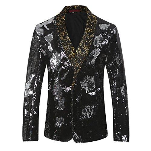 Cloudstyle Men's Sport Coat Slim Fit Notched Lapel Sequins Dance Party Blazer Jacket, Sliver-black, X-Large from Cloudstyle